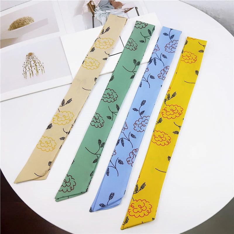 2020 New Summer Long Skinny Hair Tie Scarf Multifunctional Love Heart Stripe Printed Silk Head Scarfs For Women Handbag 5x90cm