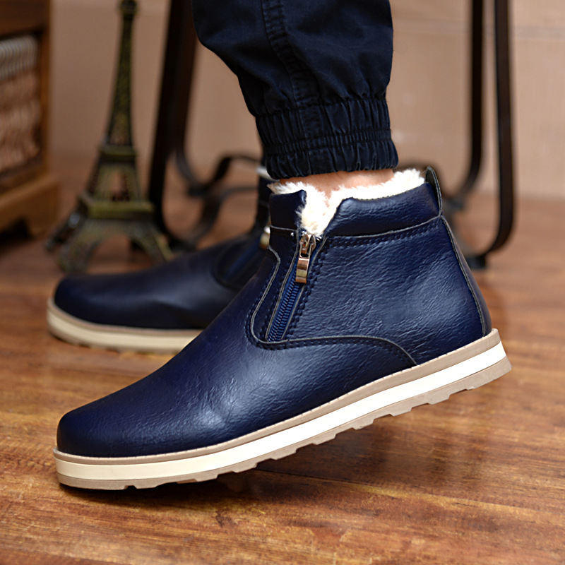 2019 Size  Men Winter Warm Boots Casual Shoes Men Fashion Plush Snow Boots Ankle Boots Fur Leather Footwear Ghn78