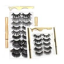 5 Pairs/10 Pairs Magnetic Eyelashes Handmade 3D Mink Eyelash Extension Magnetic Eyeliner Reusable Natural Thick False Eyelashes