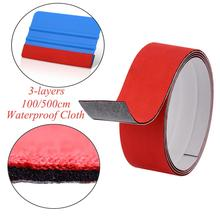 FOSHIO 1/5M 3 Layer Vinyl Squeegee Fabric Felt Edge Carbon Fiber Foil Film Window Tint Wrap Scraper No Scratch Protective Cloth