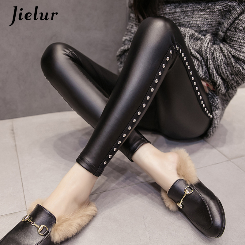 Winter Fleece Matte PU Leather leggings Women Fashion Rivets Push Up Pencil Pant