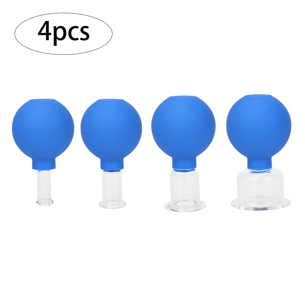 4PCS Anti Cellulite Suction Cup Rubber Head Glasses Jar Vacuum Cupping Set Cans Body Face Massager Cellulite Health Beauty Care