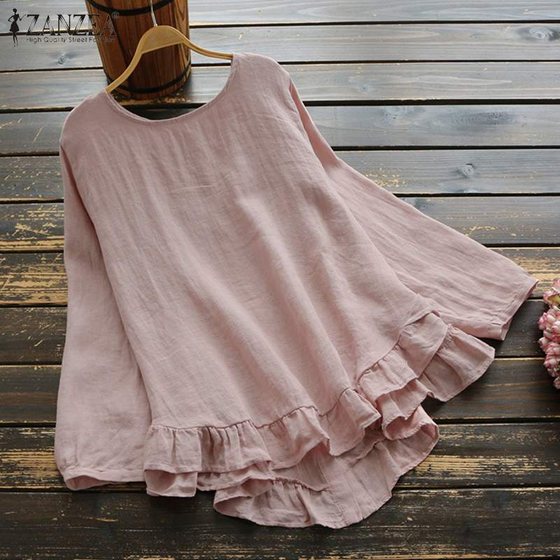 Vintage Women Ruffles Blouse ZANZEA Spring O Neck Long Sleeve Tops Casual Loose Cotton Linen Shirts Plus Size Blusas Femininas
