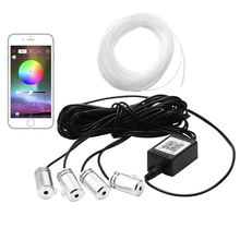 цена на 5 in 1 6.2M Sound Active EL Neon Strip Light RGB LED Car Interior Light Multicolor Bluetooth Phone Control Atmosphere Light 12V