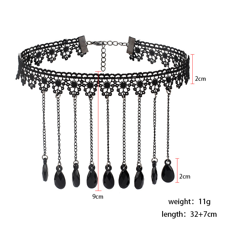 KMVEXO Gothic Chokers Black Beaded Flowers Sexy Lace Neck Choker Necklace Vintage Tassel Chain Women Steampunk Halloween Jewelry