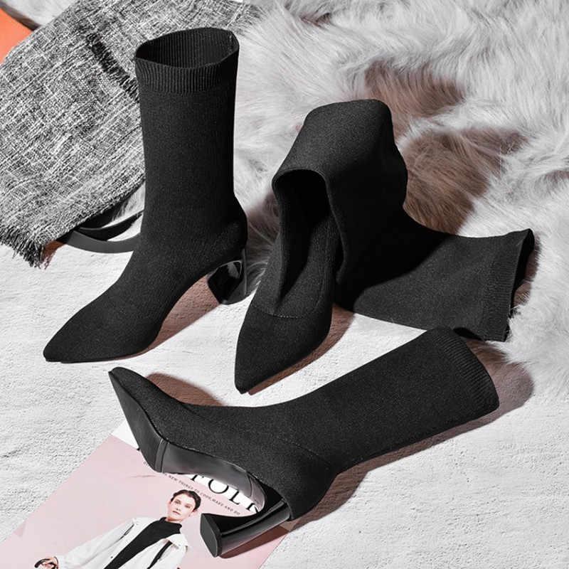 Prova Perfetto Streç Örme Kadın Çorap Garip Topuk yarım çizmeler Kadınlar Için Sivri Burun Kayma Diz Yüksek Kadın Botları