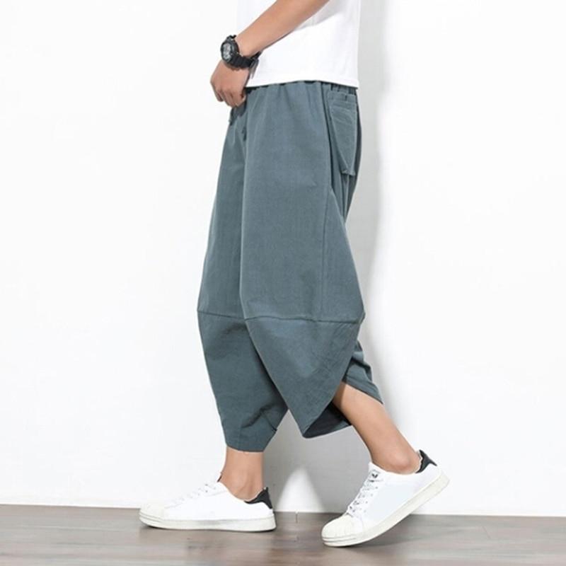 Male Pants Elastic Waist Lantern Punk Style Pencil Pants Men Harjuku Hiphop Pants Jogger Trousers Harem Pants Befree