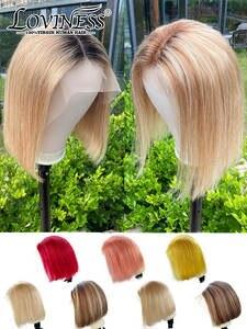 LOVINESS Human-Hair Closure Short Blonde U-Part Cheap Wig Bob Black-Color Pre-Plucked