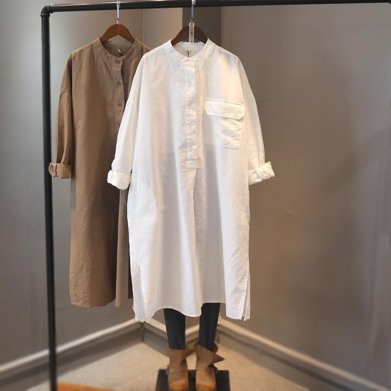 Cotton Linen Dresses Womens 2021 New Casual Boyfriend Style Slit Hem Front Single Pocket Long Sleeve Dress Female Hemp Clothes