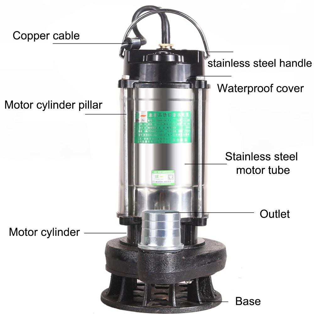 Насос для сточных вод, погружной насос из нержавеющей стали, не блокирующий водяной насос 220 В, альтернативная насосная дренажная помпа с ад