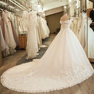 Image 3 - SL 5061 숄더 웨딩 신부 드레스 볼 가운 자수 레이스 applique Boho 웨딩 드레스 2020 noiva 플러스 사이즈 드레스