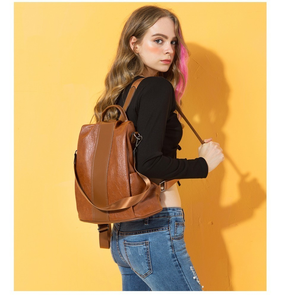 Hf65ef3b0cf3b4f2494954403064986a2S HERALD FASHION Quality Leather Anti-thief Women Backpack Large Capacity Hair Ball School Bag for Teenager girls Male Travel Bags