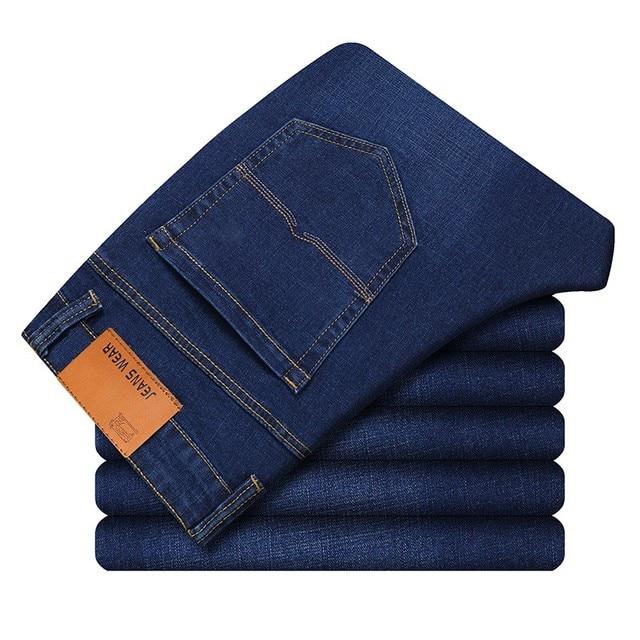 New Men's Slim Elastic Jeans Fashion    5