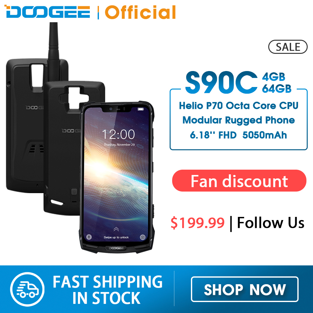 IP68 DOOGEE S90C Modular Rugged Mobile Phone 6.18inch Display 12V2A 5050mAh Helio P70 Octa Core 4GB 64GB 16MP+8MP Android 9.0(China)