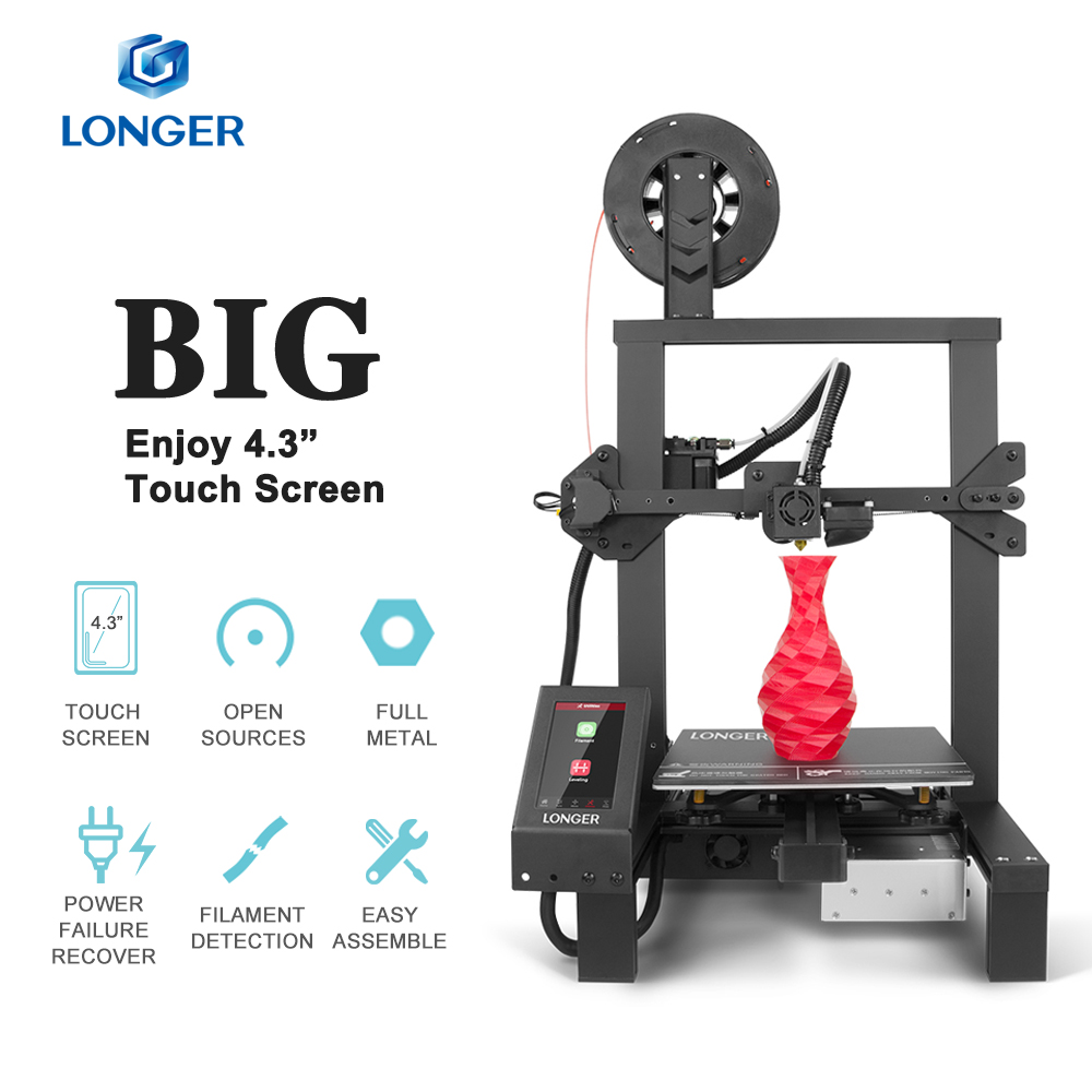 "LONGER LK4 Pro Open Source 4.3"" Full Color Touch Screen Full Metal FDM 3D Printer Big Size PLA Filament High Precision 3D Drucke"
