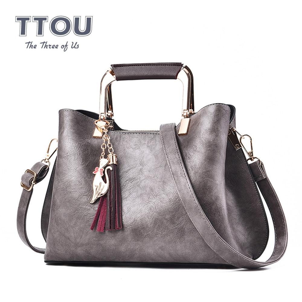 Casual PU Leather Women Large Capacity Shoulder Bag Korean Style Tassel Female Bags For Ladies 2020 Shopping Design Handbags