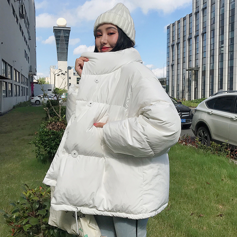 New Winter   Down   Jacket Women Stand Collar Black White Female   Down     Coat   Loose Oversize Women Parka Thick   Down   Jacket Clothes 2019