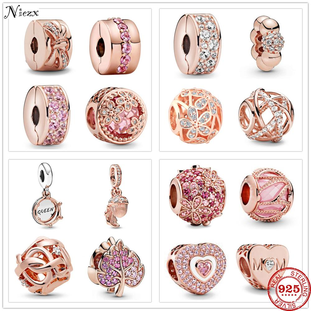 New Rose Gold Openwork Woven Infinity Daisy Love MoM Pavé Clip Charm fit Pandora charms silver 925 original bracelets & bangles(China)