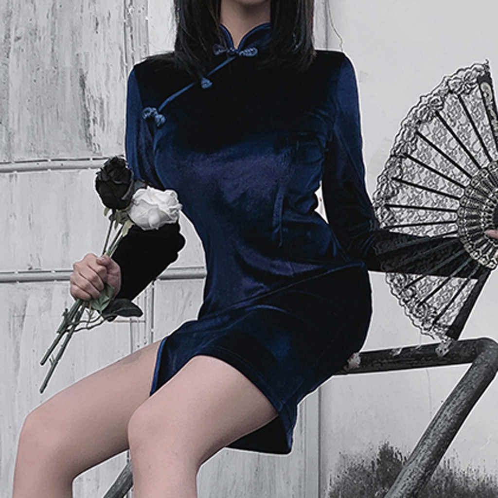 נשים קפלים שחור שמלת פאנק סגנון רצועת רוכסן שמלת לדחוף למעלה Slim שמלת * 1