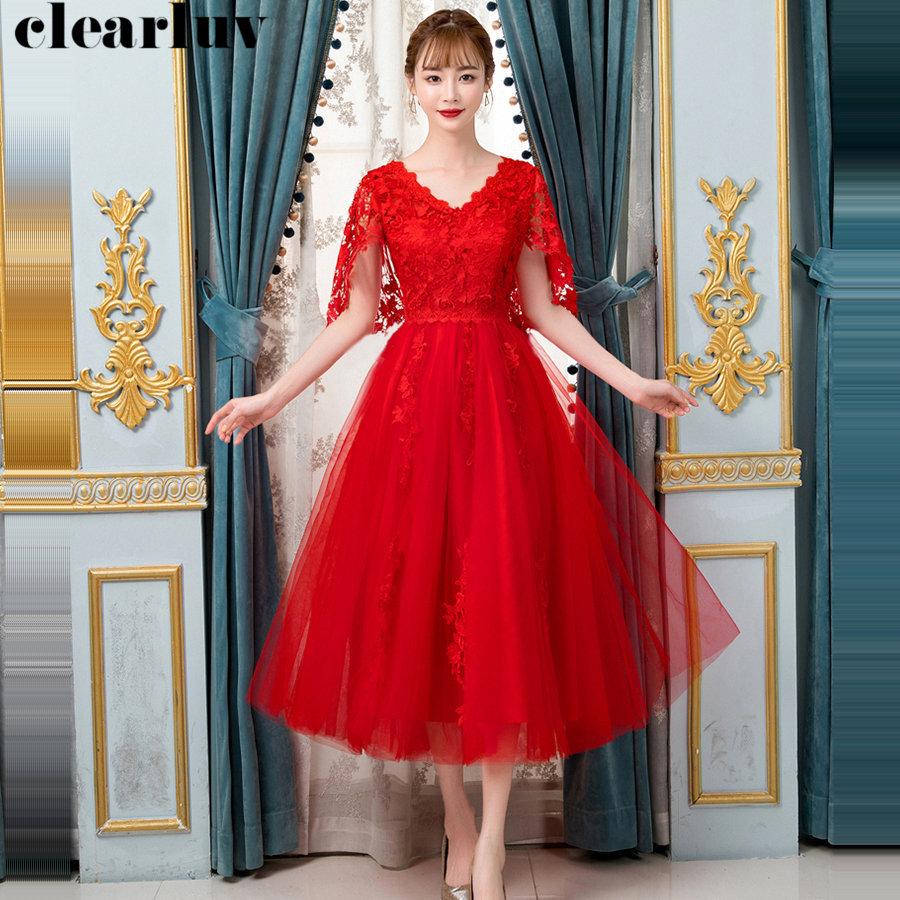 Prom Dresses 2019 Red Medium Length Dresses Women Party Night Y028 Plus Size V-Neck Pregnant Women Prom Gown Vestidos De Gala