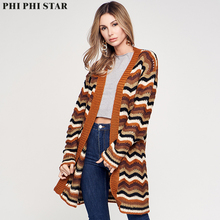 Phi Phi Star Brand Women Sweater Autumn Outfit New V-neck Long Knitwear Loose Jacquard Dress Cardigan Coat Pocket Female loose fitting tribal jacquard cardigan page 7