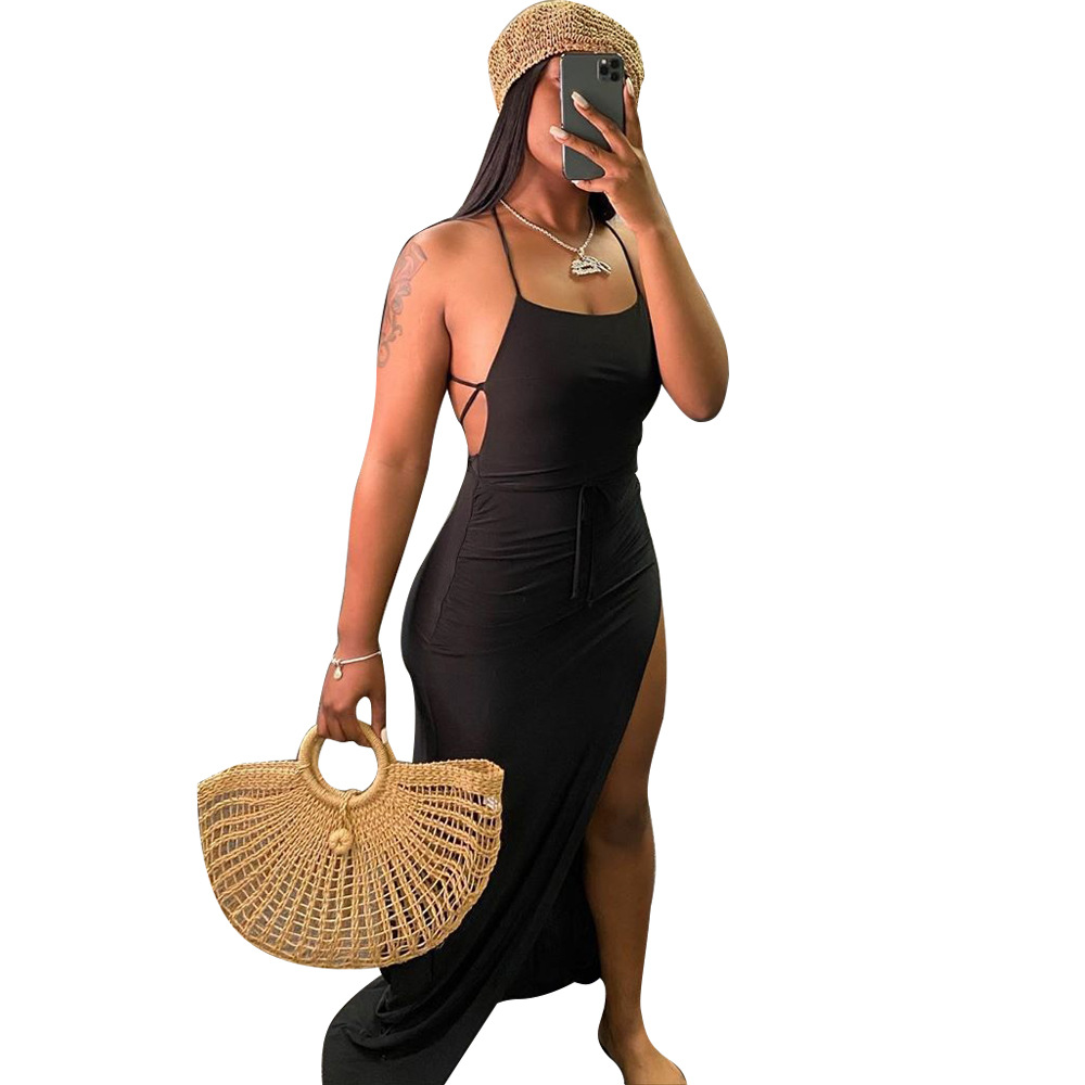 ANJAMANOR Black Assymetric Backless High Split Maxi Dresses Sexy Club Outfits for Women Vacation Beach Clothes D35-BI24 7