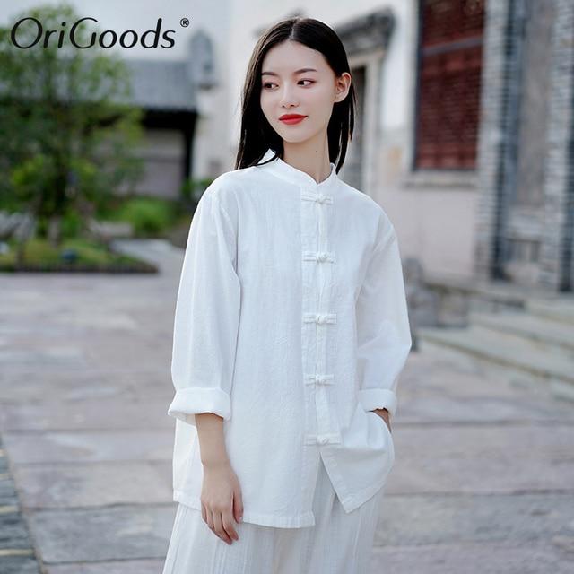 OriGoods Women Long sleeve Shirt 2019 Autumn Chinese style Shirt Blouse Cotton Linen Vintage Shirt Qigong Tai Chi clothes C269 1