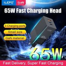 Carga rápida 65w carregador rápido gan usb tipo-c carregador de alta velocidade para telefones celulares xiaomi portátil tablet samsung note8 adaptador