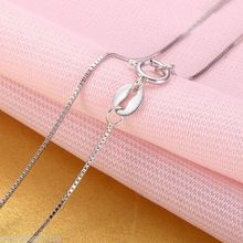 Real 18k White Gold Chain Women Luck 0.5mmW Box Link Necklace