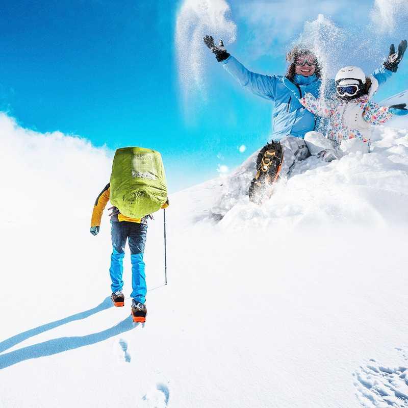 LJL-Противоскользящий ледяной захват 18 зубцов сварочная цепь из нержавеющей стали скобы ледовые бутсы легко гулять по снегу и льду для зимы W