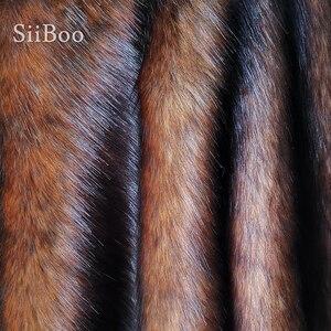 Image 2 - גבוהה כיתה חום 5cm בפלאש פו שועל פרווה בד לחורף מעיל אפוד פרווה צווארון 180*50cm 1pc ארוך שיער שועל פרווה tissu telas SP4581