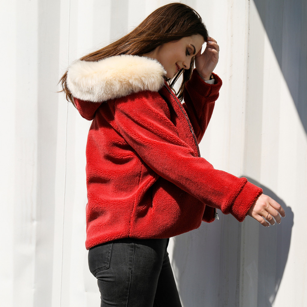 coats Women Casual Solid Faux Fur Outwear Cardigan Loose Sweater Zipper Hooded new woman coats and jackets