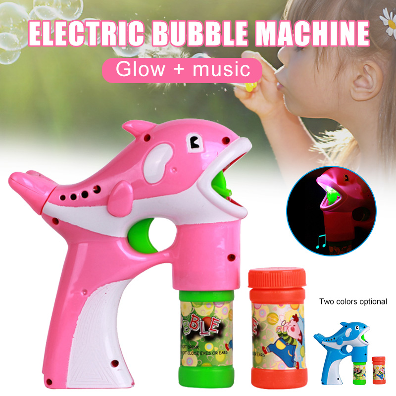 Pack of 2 Dolphin Bubble Machine Portable Bubble Hurricane Machine Automatic Kid Toy with LED Light Music HUG-Deals image