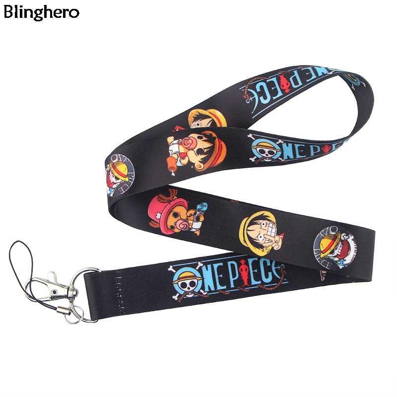 Blinghero One Piece smycze Anime smycz na klucze telefon fajne etui na dowód osobisty dzieci prezent smycz na szyje kobiety akcesoria dla mężczyzn BH0379