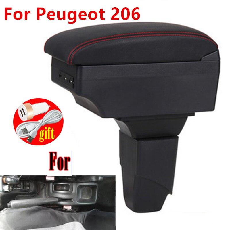 Подлокотник для PEUGEOT 206, внутренние детали, автомобильный подлокотник, Модернизированная коробка для хранения деталей, автомобильные аксес...
