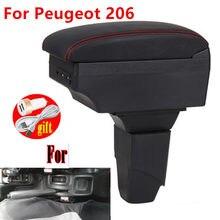 Para peugeot 206 braço peças interiores caixa de apoio braço do carro peças retrofit caixa armazenamento acessórios do carro interior com usb led