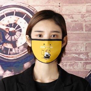Image 5 - Unisex Anime Pokemon Pikachu Cosplay Masks Cartoon Women Girls Smile Kawaii Cotton Face Mask Cartoon Funny Patten Sunscreen Mask