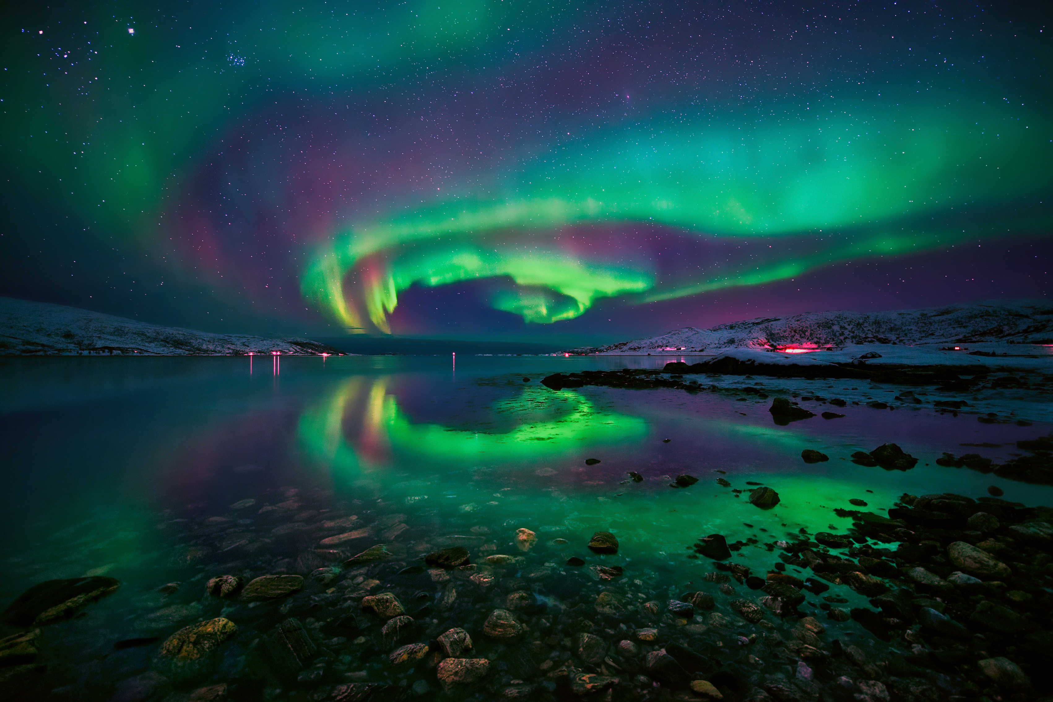 บ้านตกแต่ง sky stars night หิน Northern ไฟนอร์เวย์ fjord ผ้าไหมผ้าโปสเตอร์พิมพ์ JZK433