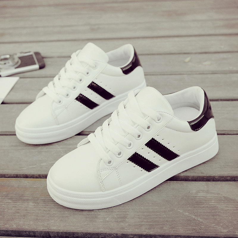 2020 New Women Casual Shoes White Sneakers Fashion Striped Shallow Lace Up Sport Shoes Women Vulcanized Shoes Tenis Feminino