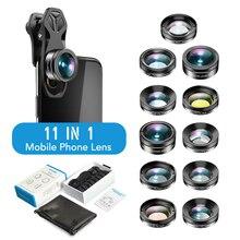 APEXEL 11in1 ชุดเลนส์กล้อง Fisheye Wide Angle Full/grad FILTER CPL ND Macro เลนส์สำหรับ iPhone samsung Redmi โทรศัพท์