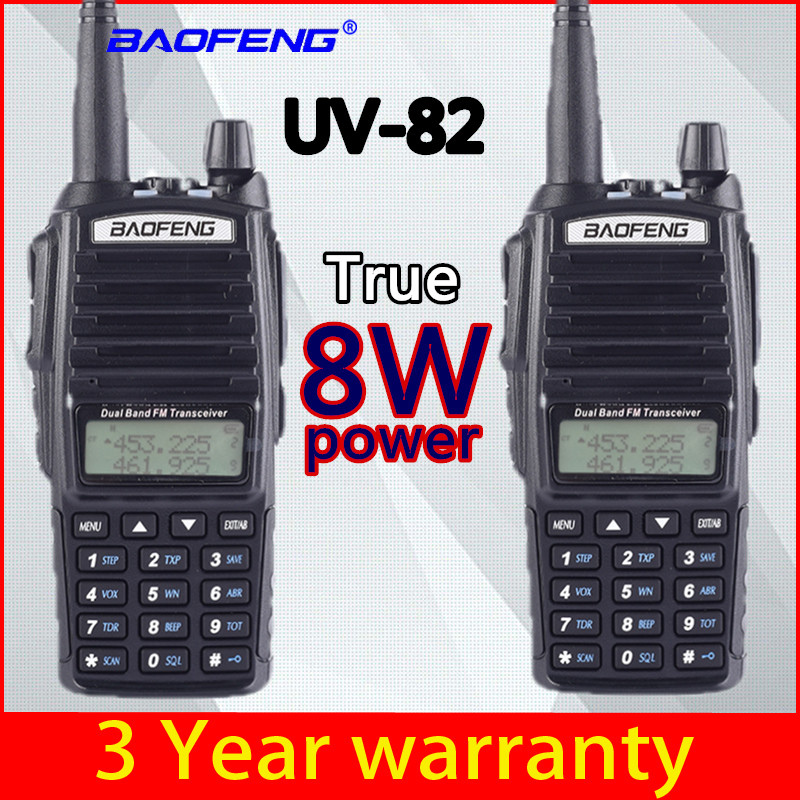 2 PCS BaoFeng UV-82 Walkie-Talkie 8 Watt U/V Baofeng UV 82 Headset Walkie Talkie 10 KM Baofeng 8W Radios Uv 9r Ham Radio 10 KM
