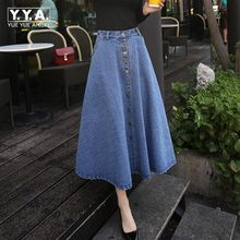 Spring Summer Female New Vintage Women A-line High Waist Fashion Long Mid Denim Flare Party Button Skirts Women Free Shipping(China)
