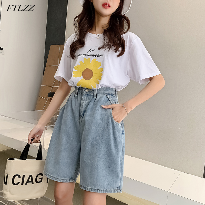 FTLZZ New Woman Wide Legs High Waist Blue Knee-lenght Denim Shorts Casual Female Loose Fit Jeans Vintage Ladies Shorts