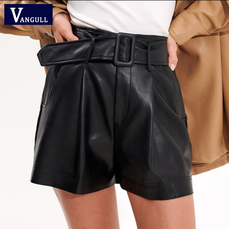 Vangull PU Leather Shorts New Casual High Waist Loose Wide-legged Spring Women Fashion Mini Shorts Bottoms With Belt Female