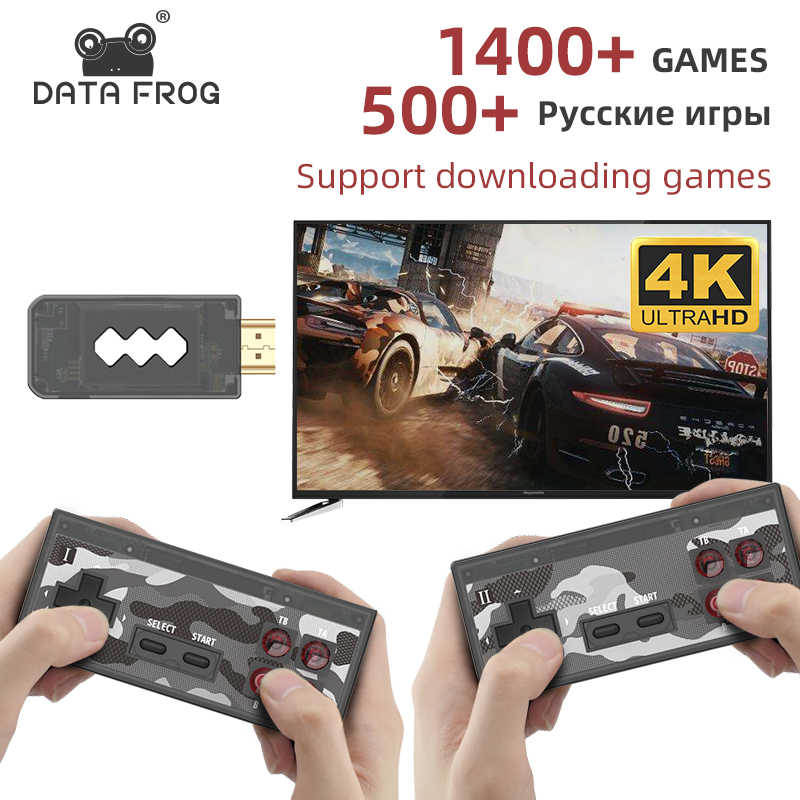 Dati Rana USB Wireless Handheld Console per Video Game TV Costruire In 1400 Gioco Classico 4K 8 Bit Mini Video console di Uscita di Sostegno HDMI