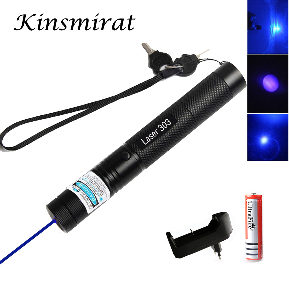 Green /Red Blue Laser Pointer 532nm 5mW 303 Laser Pen Adjustable Starry Head Burning Match lazer With 18650 Battery+Charger