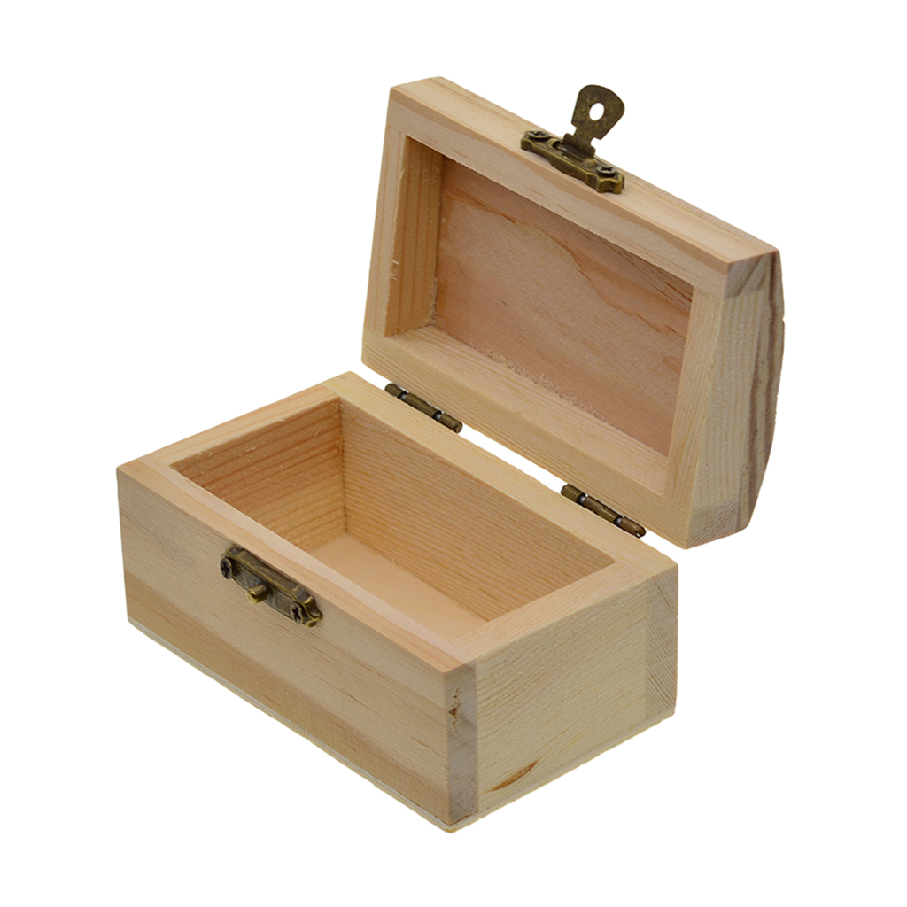 Unfinished Wood Blank Wooden Box Base Organizer Storage Case for DIY Crafts