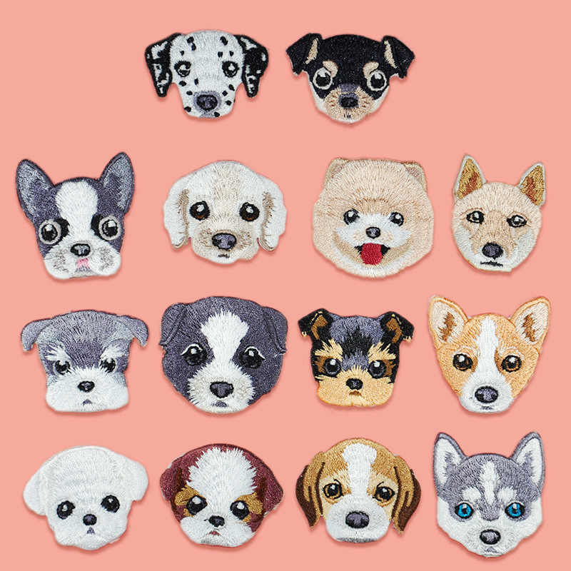 Small Dog Patches Cloth Paste Sticker Embroidery Handmade DIY Animal Teddy Husky Badge for Clothes Clothing Accessory Hot Sale