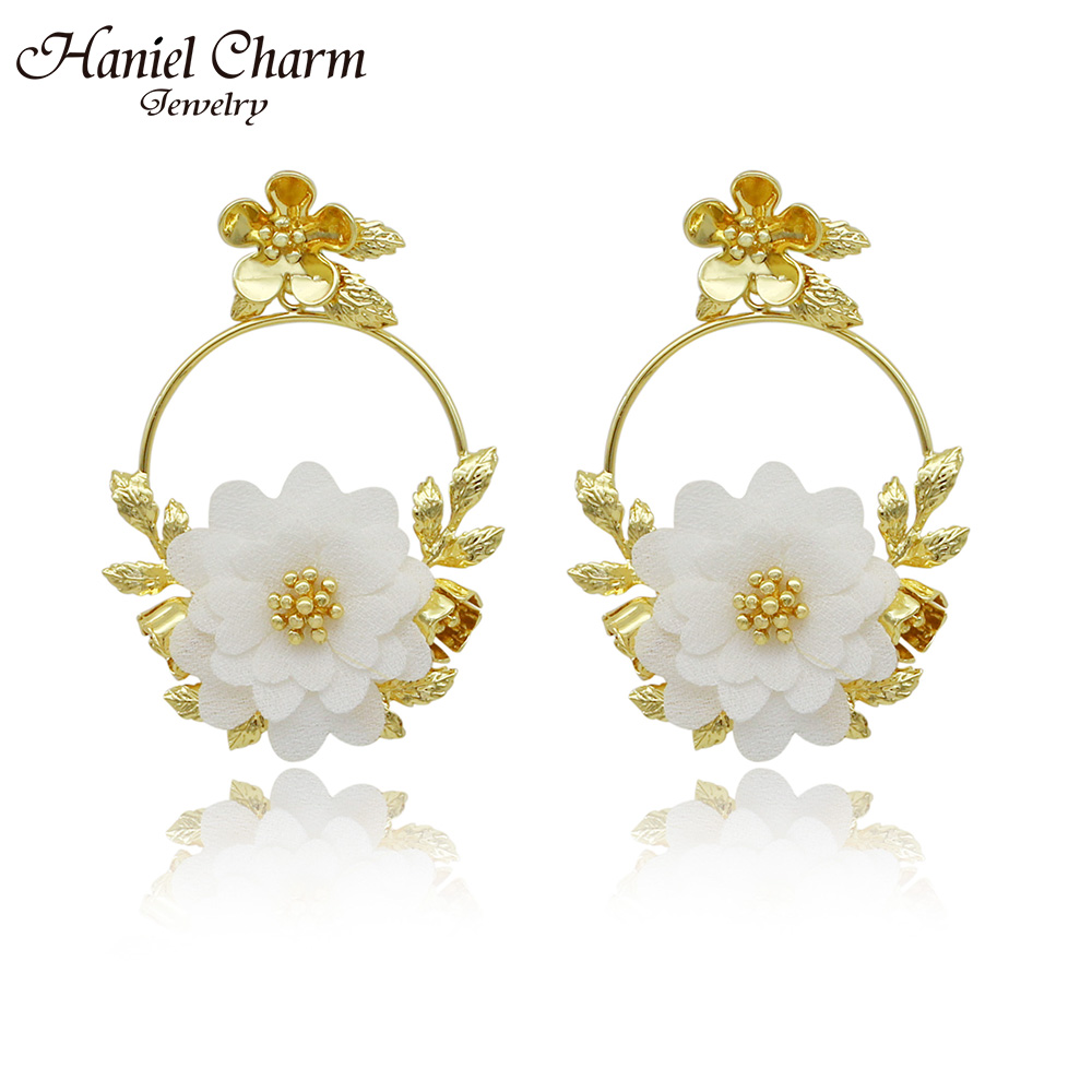 Haniel Charm Jewelry Party Earrings Gold Color Plated Flower Shape Romantic Style For Womens Earrings In Jewelry