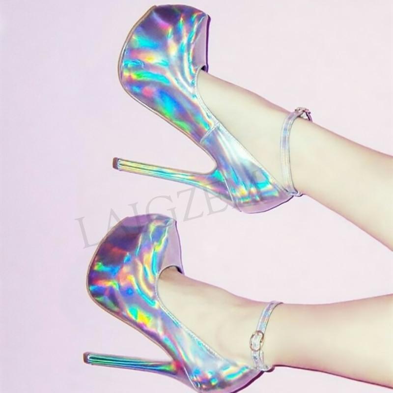 LAIGZEM Women Platform Heels Ankle Strap Multi Silver Pumps Stiletto Heel Party Prom Zapatos Mujer Shoes Woman Large Size 46 47